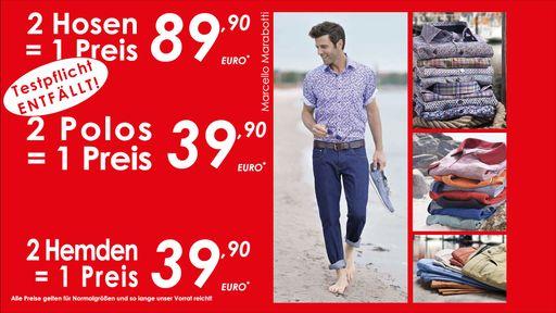 2 Hosen, 2 Hemden, 2 Polos - Ein Preis